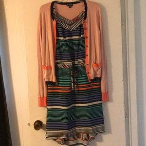 Hi-lo draw-waist dress with coordinating cardigan